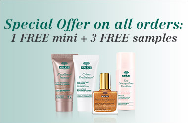 1 free mini and 3 free samples on all orders