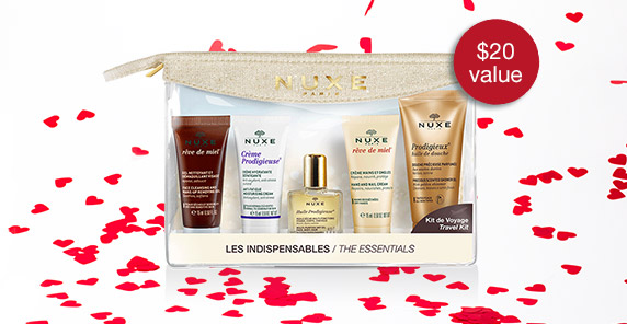 Receive a free 5-piece bonus gift with your $70 NUXE purchase
