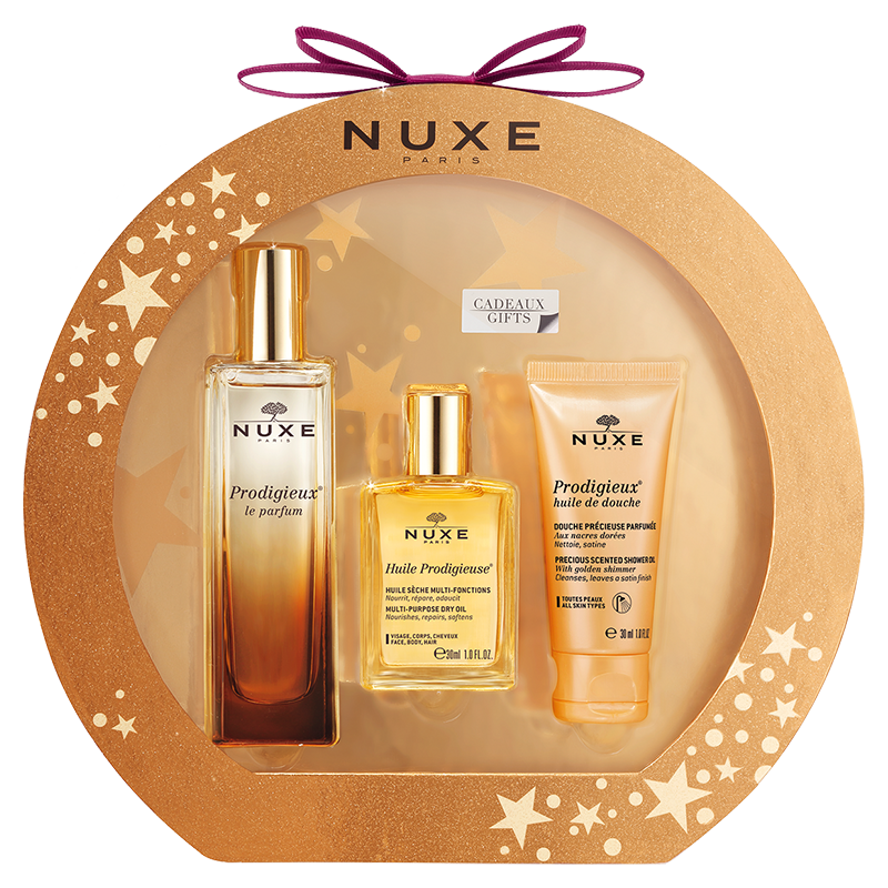 christmas box prodigieux harmony set with perfume huile prodigieuse shower oil sets. Black Bedroom Furniture Sets. Home Design Ideas